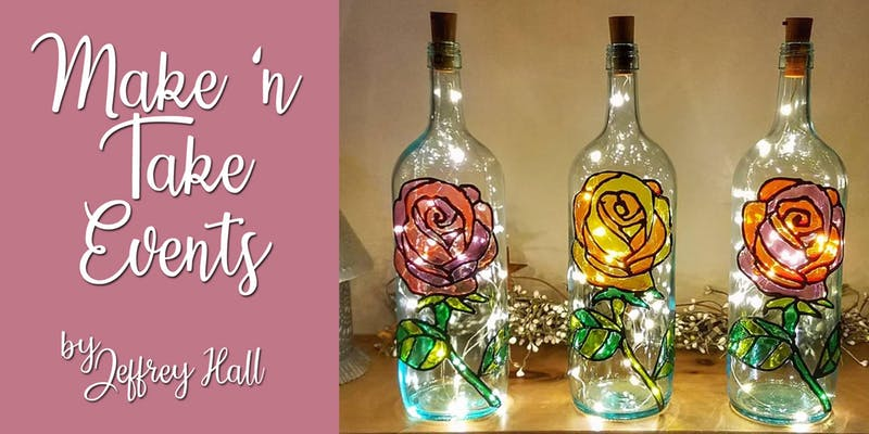 Make \'n Take - Stained Glass Wine Bottle - Rose